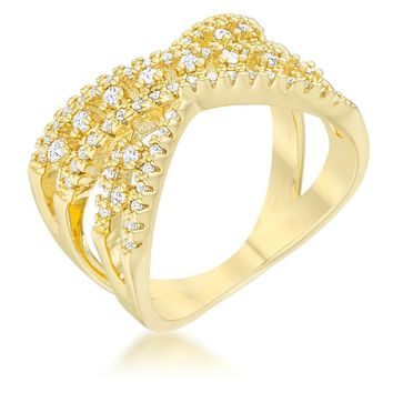 Sandy 0.37ct CZ 14k Gold Classic Criss Cross Ring, Size 5