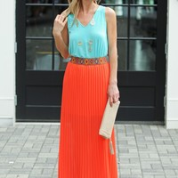 Red Pleated Maxi Skirt- Maxi Skirt-$75.00   Hand In Pocket Boutique