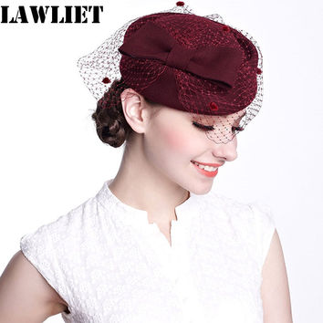 A080 Womens Dress Fascinator Wool Felt Pillbox Hat with Elegant  Bow and Veil for Party Wedding Church Fedor