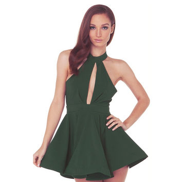 Halter Zipper-Back Skater Dress
