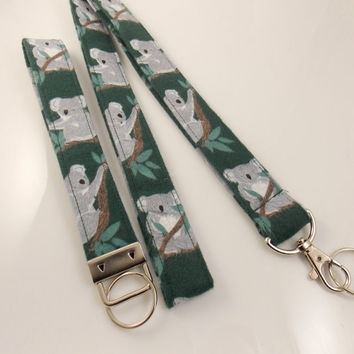 Koala Lanyard Teacher Lanyard Koala Bears Koala Key Fob Koala Key Ring Nurse Lanyard Key Holder ID Badge Holder Animal Lanyard Australia