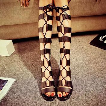 Roman Gladiator Cross Bandage Sandals Women Knee High sandalias botas femininas Women
