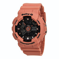 Casio BA111-4A2 Women's Baby-G World Time Ana-Digi Black Dial Peach Resin Strap Chronograph Alarm Watch