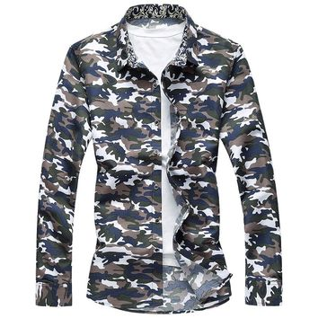 MSA Signature Camo Hawaiian Shirt Men 2017 Spring Button Down Long Sleeve Casual Shirts Plus Size Camisa Social Masculina