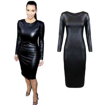 Fashion Women Bandage Dress Ladies PU Leather Dress Long Sleeve Sexy Party Dresses Bodycon Clubwear Midi Dresses Black Vestidos
