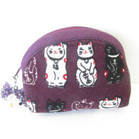 Cat Coin Purse - Purple Change Purse - Crystal Cat Purse - With Crystal Cat Zipper Pull - Zippered Pouch - Small Coin Purse - Handmade Gift
