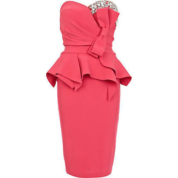 Pink Forever Unique gem bow peplum dress - party / evening dresses - dresses - women