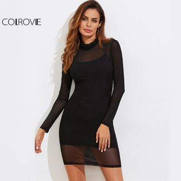 Sheer Mesh Sexy Club Dress With Rib Cami Lining Women Black Mini Bodycon Dresses Autumn Long Sleeve Party Dress