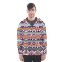 Purple And Brown Shapes Mesh Lined Wind Breaker (men) Hooded Wind Breaker (Men)