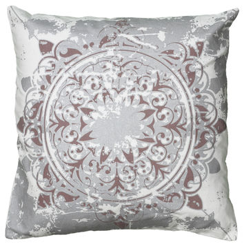 "Printed Metallic Pattern White Pillow Cover (20"" x 20"")"