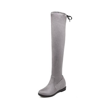 Faux Suede Tall Boots Winter Shoes for Woman 4669