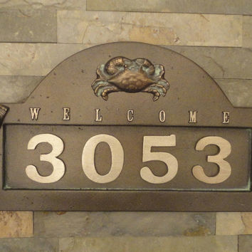 "Nautical Crab House Numbers Coastal Address Plaque Beach Cottage Large 18"" X 11"""