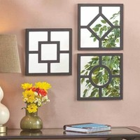 3-Pc Wall Mirror Set Accent Display Mirrors Living Room Hallway Entry Home Decor