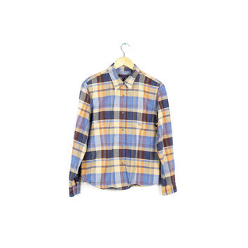 roper western plaid shirt / cowboy / classic / retro / long sleeve / pearl snap button / womens medium - large