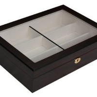 6 Piece Extra Large Ebony Wood Eyeglass Sunglass Glasses Display Case Storage Organizer Collector Box