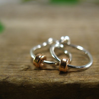 Hoop Earrings Sterling Silver with Pink Gold Band