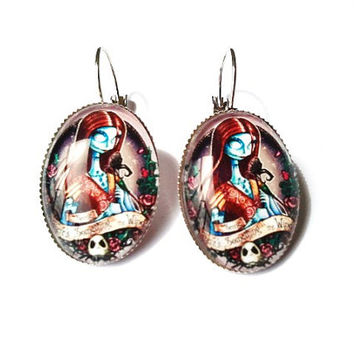 Nightmare before christmas tattooed (sally) earrings