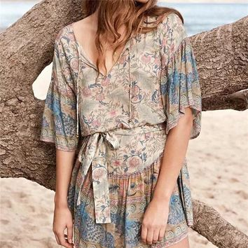 2019 Women's Spring New Boho Midi Dress Bohemian Floral Printing Holiday Dresses Flare Sleeve Vestidos De Fiesta Ethnic Dress
