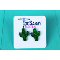 Cacti Sparkle Stud Earrings