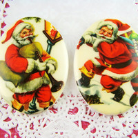 Retro Vintage Santa Claus Christmas Cabochons 40x30mm Mixed Set of 2