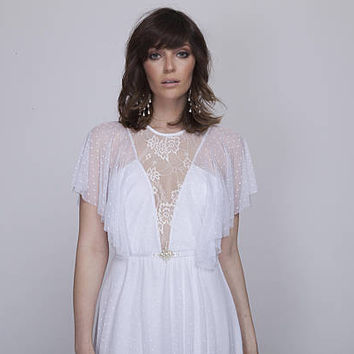 Boho Llace wedding dress, bohemian wedding dress, Dotted tulle wedding dress, lace wedding dress