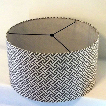 "Lamp Shade Drum style large size 15""x10"" in great geometric print in grey and white / Pendant Light Lampshade"