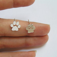 Paws Print Earrings - Silver Stud Earrings - Cats and Dogs Paws - Pet Jewelry - Hand Cut