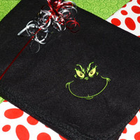 GRINCH Fleece BLANKET THRoWs Bright Green or Black EMBRoIDERED CUSToM Design 50X60 Just Right Size to Snuggle up With!  Designs by Sugarbear