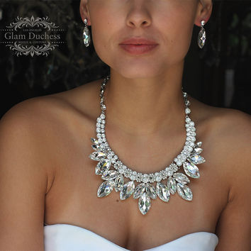 Wedding jewelry set, bridal jewelry set, Bridal backdrop bib necklace earrings, bridal necklace statement, Marquise crystal jewelry set