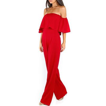 Women off shoulder jumpsuit romper Sexy short sleeve jumpsuit Chiffon rompers womens jumpsuit Wide legs Playsuit Overall Macacao