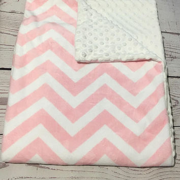 Personalized Baby Blanket,Pink Minky,Chevron Print,Handmade Blanket,Baby Gift,Baby Girl Bedding,Pink Chevron,Monogrammed Blanket