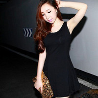 Trendy Bright Slimmed Pleated Tank Mini Jersey Dress 8 Colors