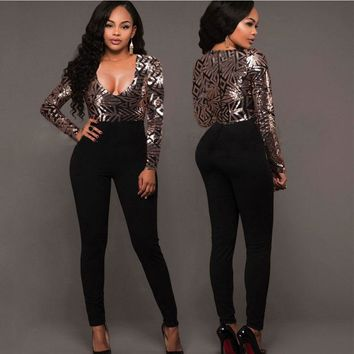 Women's sexy jumpsuit V collar Long sleeves Sequin jumpsuits Autumn And Winter Body-con Rompers Women's trousers