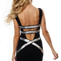 Black Bodycon Dress with Sequin Strap Open Back