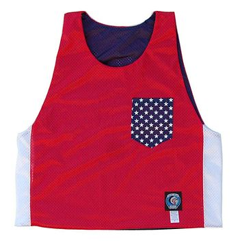 USA American Flag Pocket Sublimated Reversible Lacrosse Pinnie