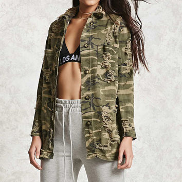 Distressed Camo Denim Jacket