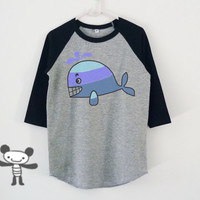Blue whale fish raglan shirt for kids toddlers boys girls clothing