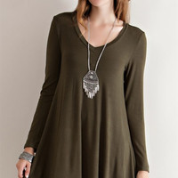 Solid jersey flare casual dress