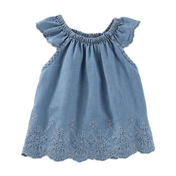 Baby Girl OshKosh B'gosh® Eyelet Swing Chambray Top