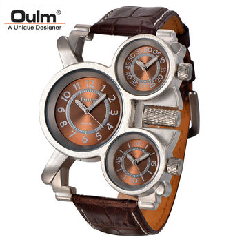 Mens Watches Top Brand Luxury Famous Tag Men's Military Watch 3 Time Zone Waterproof Men Clock Leather Quartz Watch Man