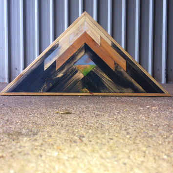 Reclaimed Lath Mountain Art, Triangle Wall Hangings, Mountain Wall Hanging, Boho Wall Hanging, Wooden Mountains Art, Reclaimed Wall Hanging
