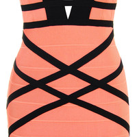 Clothing : Bandage Dresses : 'Naima' Coral & Black Woven Back Bandage Dress
