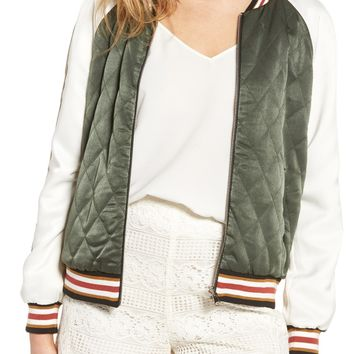 cupcakes and cashmere Brice Reversible Varsity Jacket | Nordstrom