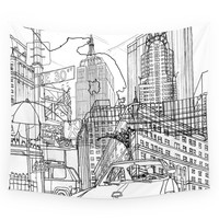 Society6 New York! B&W Wall Tapestry