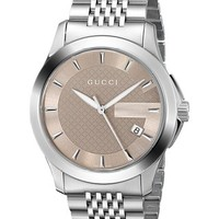 Gucci Men's YA126406 G-Timeless Medium Brown Dial Stainless-Steel Watch