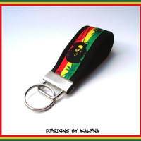 Reggae Rasta Key Fob - Keychain -  Red Yellow Green - Black - Pakalolo Leaf - Bob Marley