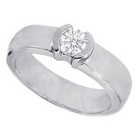 European Engagement Ring - 0.33 Carat Round Diamond Half Bezel Set Engagement Ring - ER84
