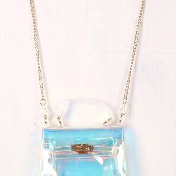 Holographic Jelly Crossbody Mini Clutch Bag