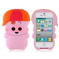 Mcdull Lovely Pig Design PC Protective Case for iPhone 4/4S - Pink
