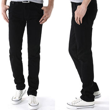Men's Fashion Black Men Korean Denim Pants Jeans [6528423939]